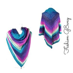 BOGO Handmade Crochet Colorful Shawl